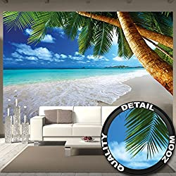 Great Art Wall Mural Palm Trees Beach Mural Decoration Caribbean Beach Bay Paradise Nature Island Palms Tropical paperhanging Wallpaper Poster Wall Decor (132.3 Inch x 93.7 Inch / 336 x 238cm)