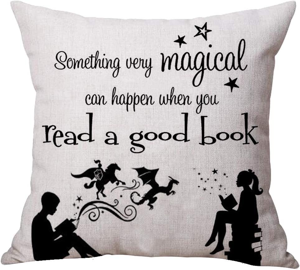 ASTIHN Gift Boy Girl Magical Things Will Happen Read A Good Book Cotton Linen Throw Pillow Cover Cushion Case Home Chair Office Decorative Square 18 X 18 inches