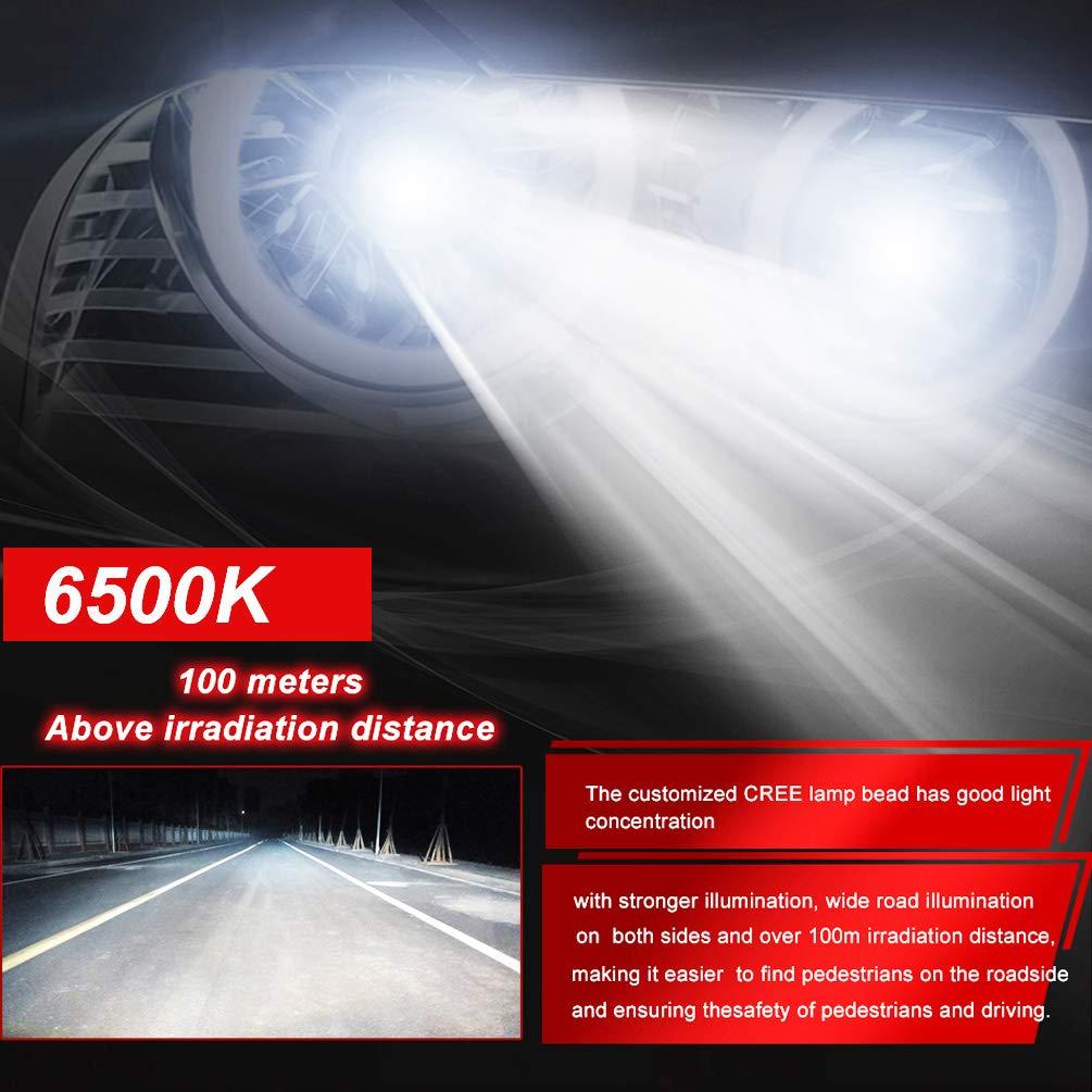 CREE Chips Ture 360 Fascio regolabile Modello omogeneo 12000LM 55W 6500K Xenon Bianco 1 ANNO DI GARANZIA KOOMTOOM Mini Design LED Lampadine per fari H7 LED Bulb Kit