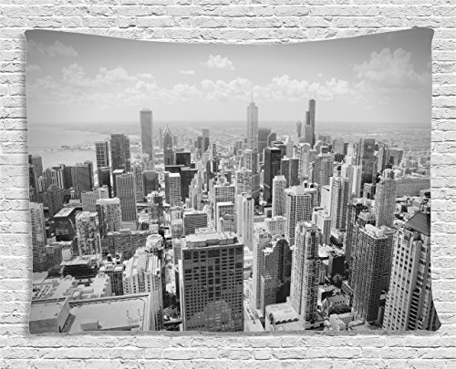 Ambesonne Apartment Decor Collection, Chicago Skyline Aerial View Contemporary Famous Touristic Places Picture, Bedroom Living Room Dorm Wall Hanging Tapestry, 80W X 60L Inch