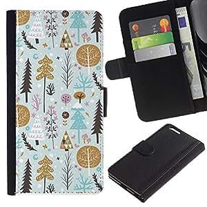 KingStore / Leather Etui en cuir / Apple Iphone 6 PLUS 5.5 / Árbol del regalo del oro Papel Vacaciones de Invierno