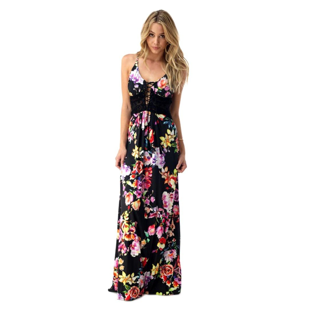 Sky Collection Black Floral Rafe Corset Style Sleeveless Maxi Dress, Large by Crazy4Bling