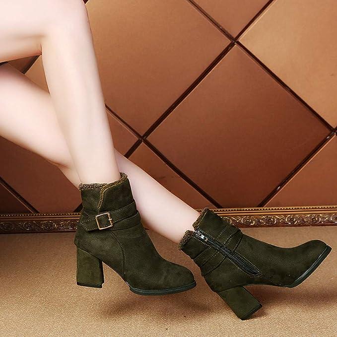 JiaMeng Zapatillas Moda Botines Botas Militares Altas Mujer Botines Boots Cremallera Lateral Cinturón Hebilla Botines Fiesta Botas: Amazon.es: Ropa y ...