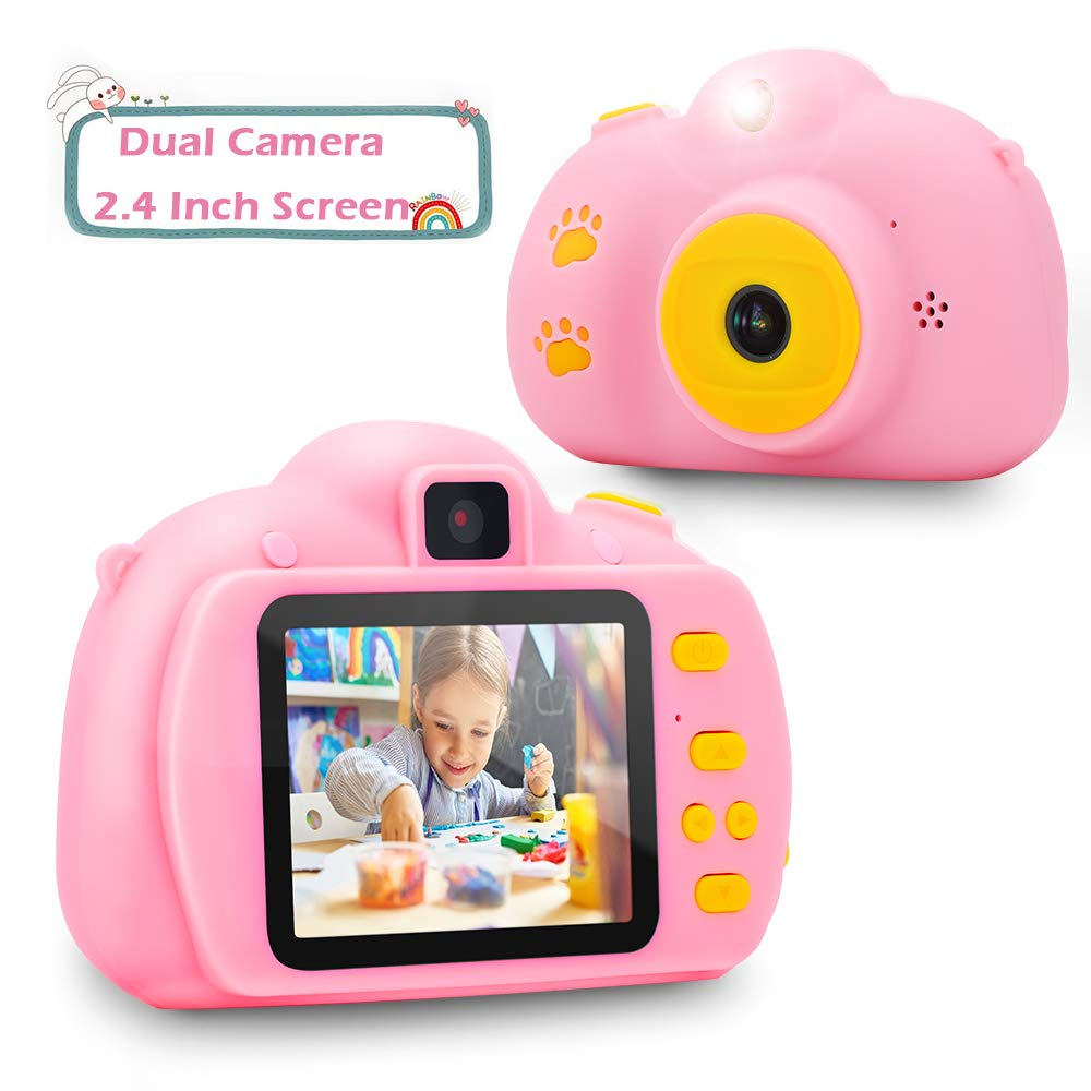 Verkstar Kids Camera Mini Toys Camera 2.4 Inches Screen HD 1080P Rechargeable Video Digital Children Camera for 3-12 Years Old Boys Girls Christmas Birthday Party Gift (Pink) by Verkstar