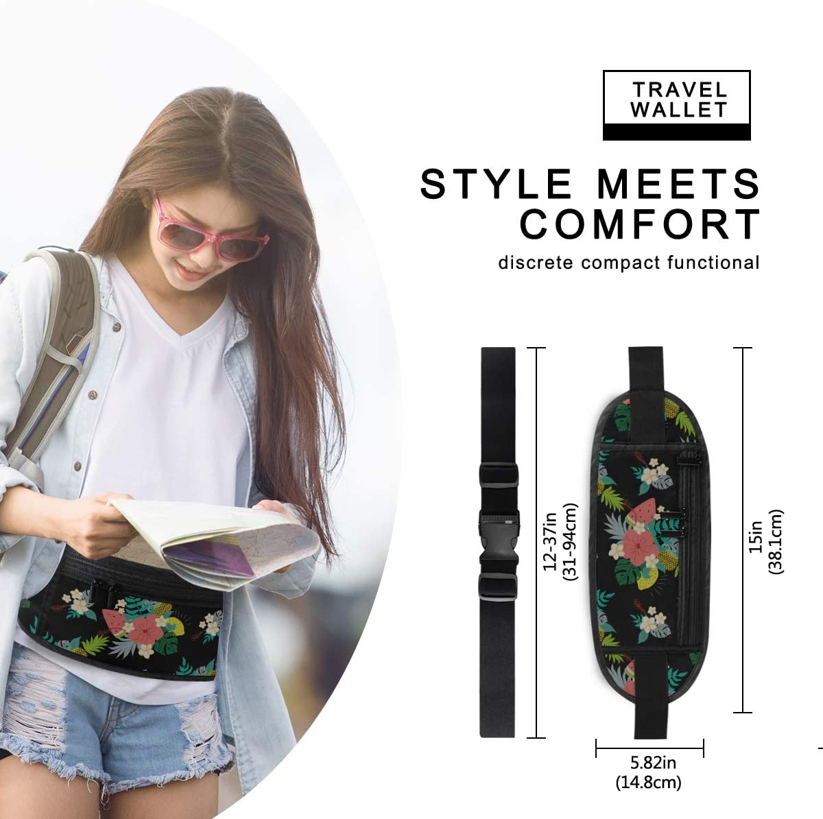 Travel Waist Pack,travel Pocket With Adjustable Belt Floral Tropical Flowers On Running Lumbar Pack For Travel Outdoor Sports Walking