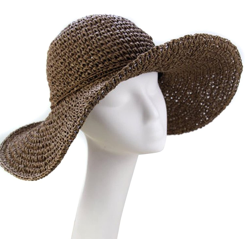 ANKKO Fashion Ladies Straw Sun Wide Large Brim Floppy Fold Swimming Beach Straw Hat