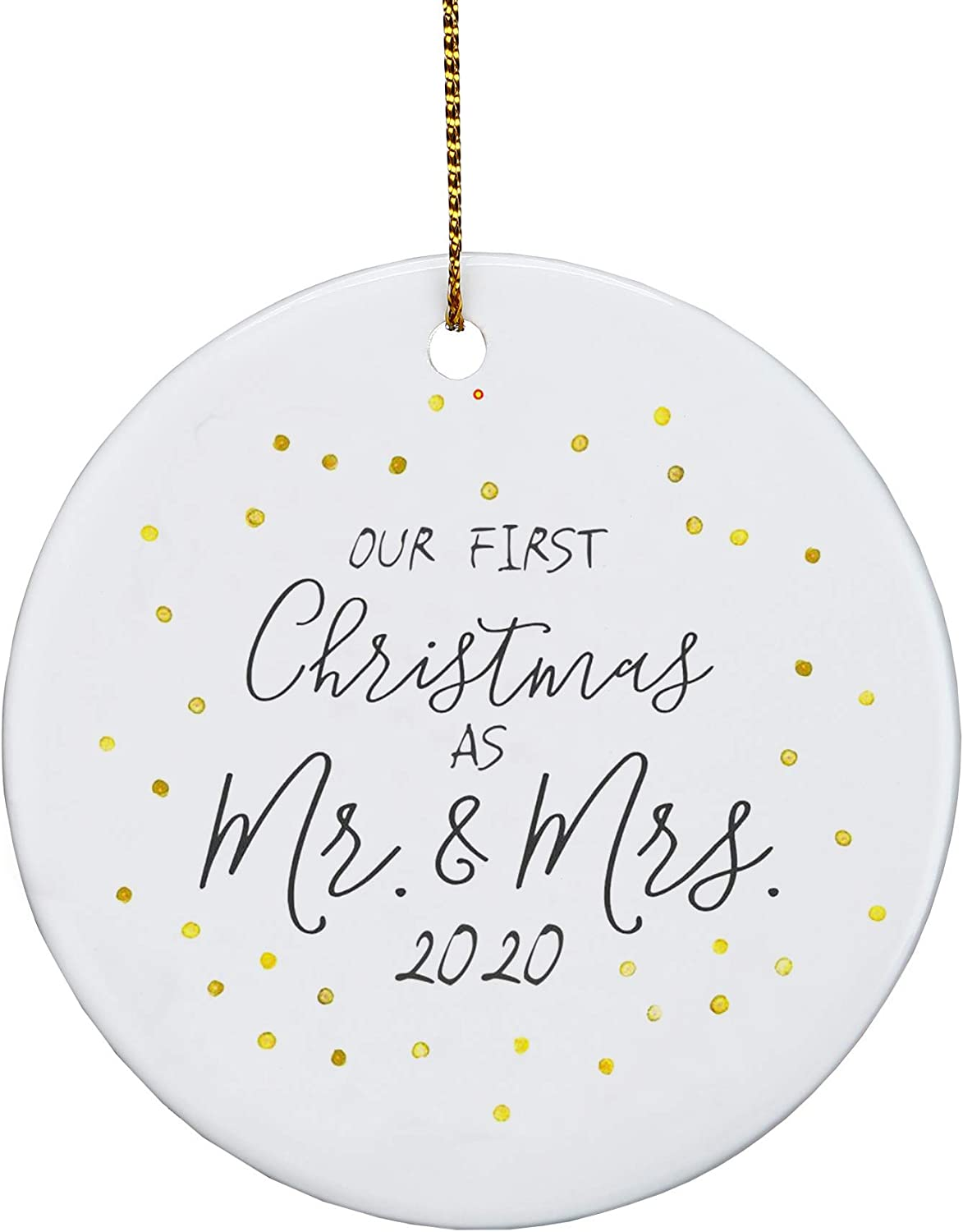 AREDM First Christmas Ornaments as Mr & Mrs Couple Married 2020 Wedding Decoration 2.9 inch Ornament (Mr & Mrs)