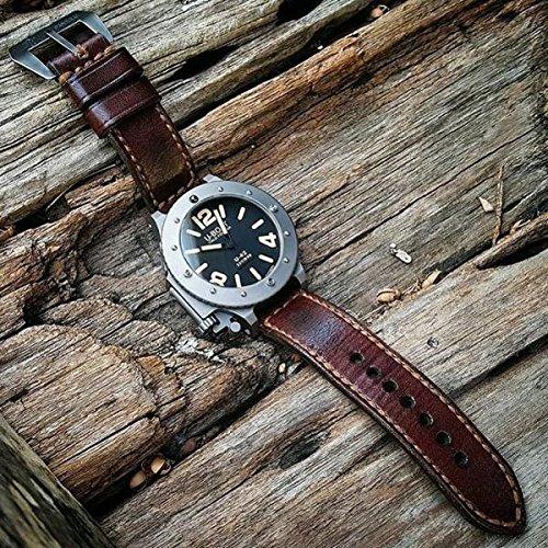 Custom 22mm Handmade Premium Calf Leather Watch Band Gunny Straps - Jamon Serie by Gunny Store