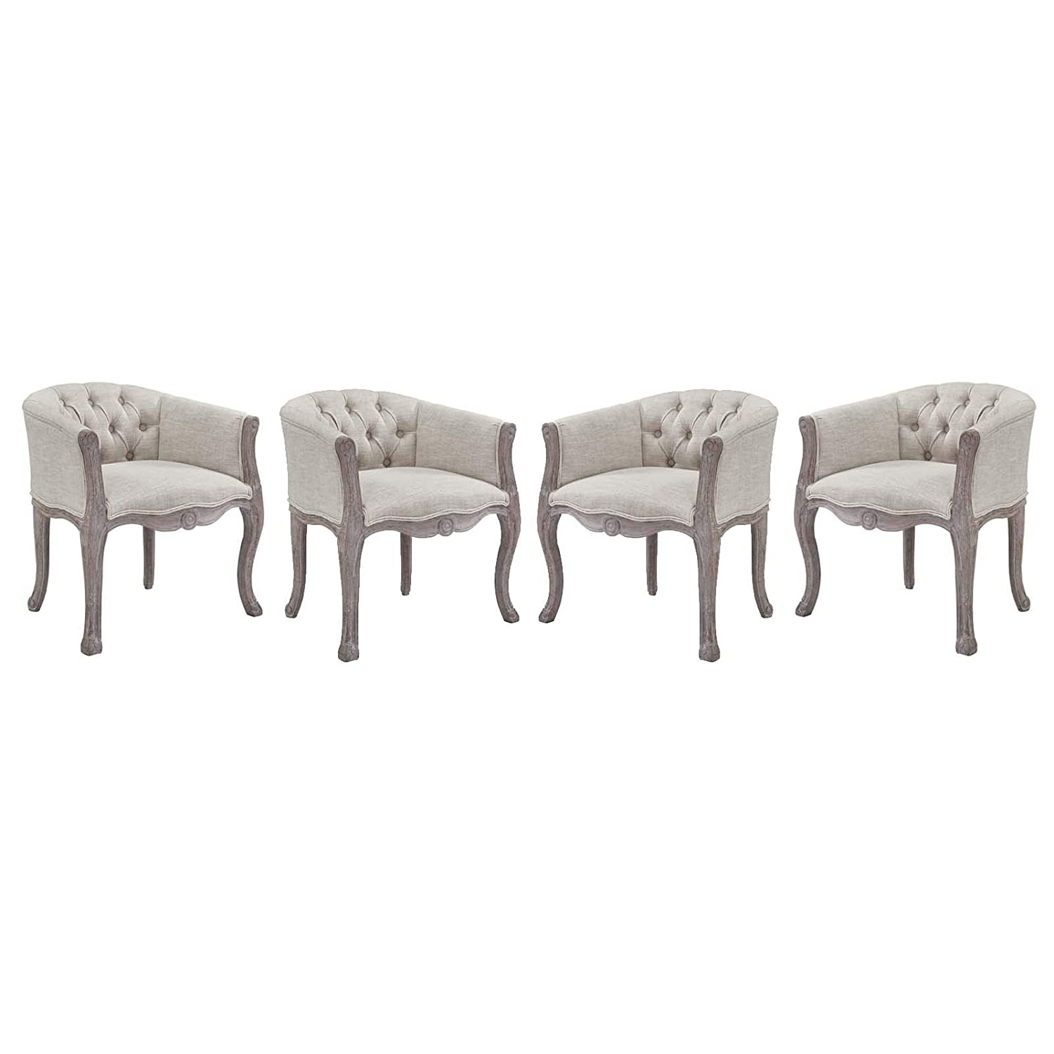 Modway Crown French Vintage Barrel Back Tufted Upholstered Fabric Four Kitchen and Dining Room Arm Chairs in Beige - Fully Assembled