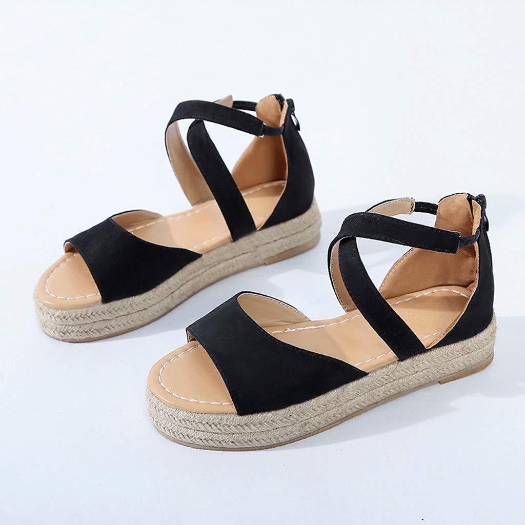 Plate-Forme de la Femme Peep Toe tiss/é Zipper Plat /épais-Bas Sandales Romain Chaussures