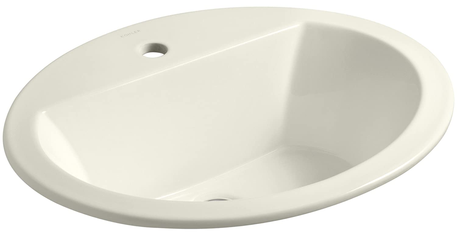 KOHLER K-2699-1-96 Bryant Oval Self-Rimming Bathroom Sink with Single-Hole Faucet Drilling, Biscuit