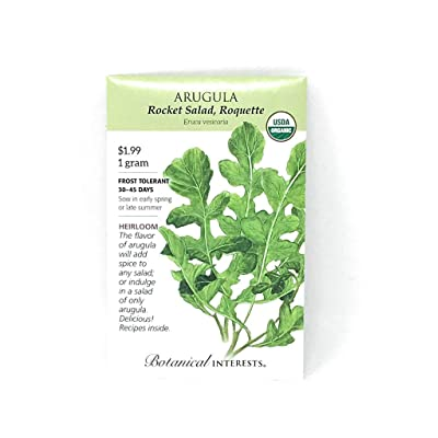 BOTANICAL INTERESTS Organic Seed Arugula Rocket Salad, 1 EA : Garden & Outdoor