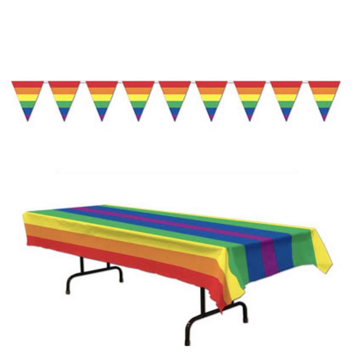 Just4fun RAINBOW Party Decorations TABLECLOTH & Pennants - PRIDE - DECOR Gay LGBT Parties Events