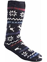 Mens Thick Warm Soft Reindeer Knit Sock Slipper Fleece Lined With Gripper Soles