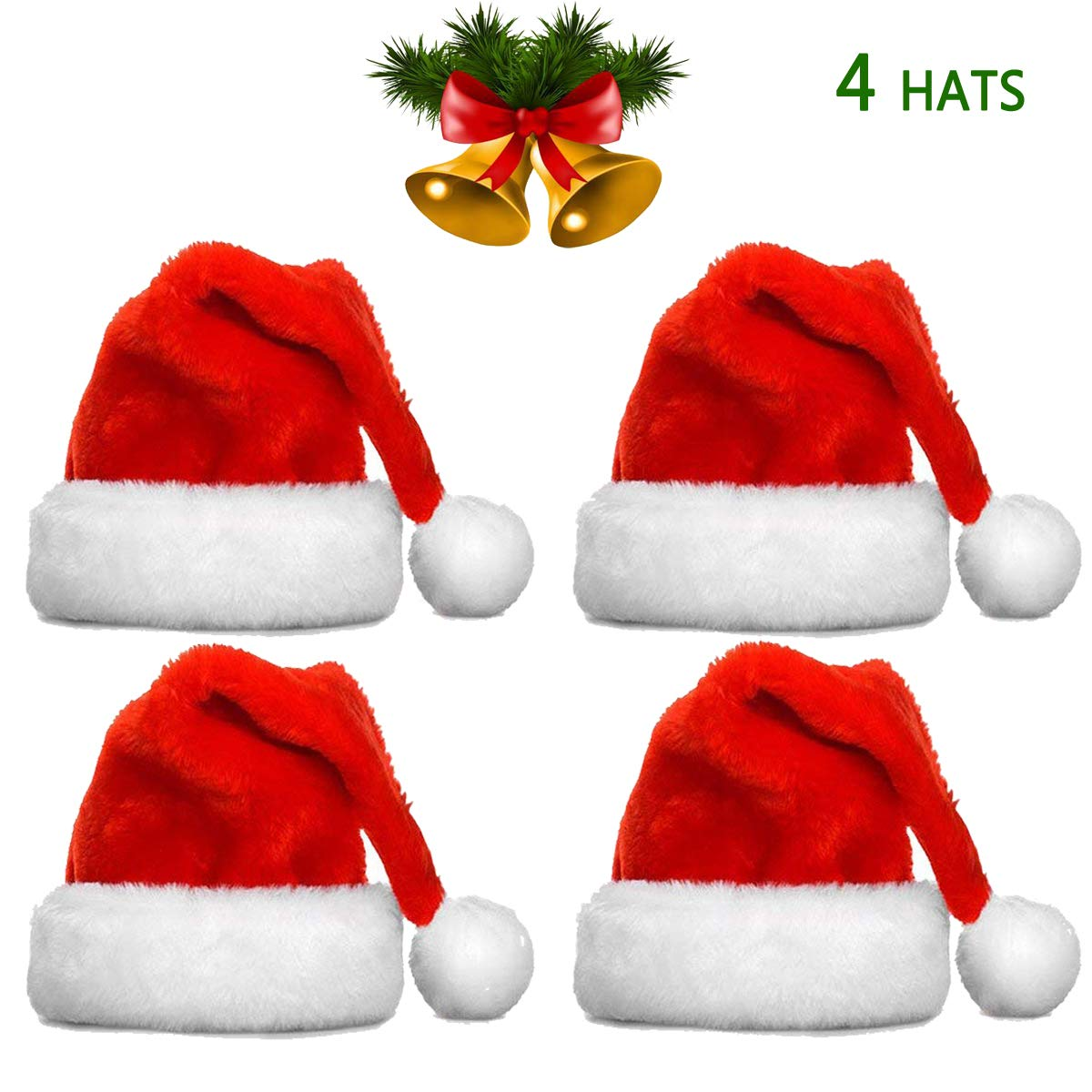 Christmas Hats Bulk Santa Hats- Christmas Costume Classic Hat -Christmas Hats for Women/Men/Kids/Adult (4 Pack Christmas Hats) by BODE Y.W