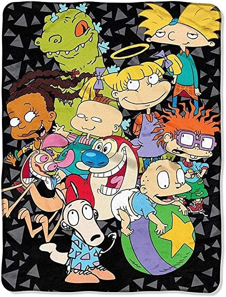 """UPD The Northwest Company Nickelodeon Rewind The Spin Room Micro Raschel Throw (46""""x60""""), Multicolor, Standard"""