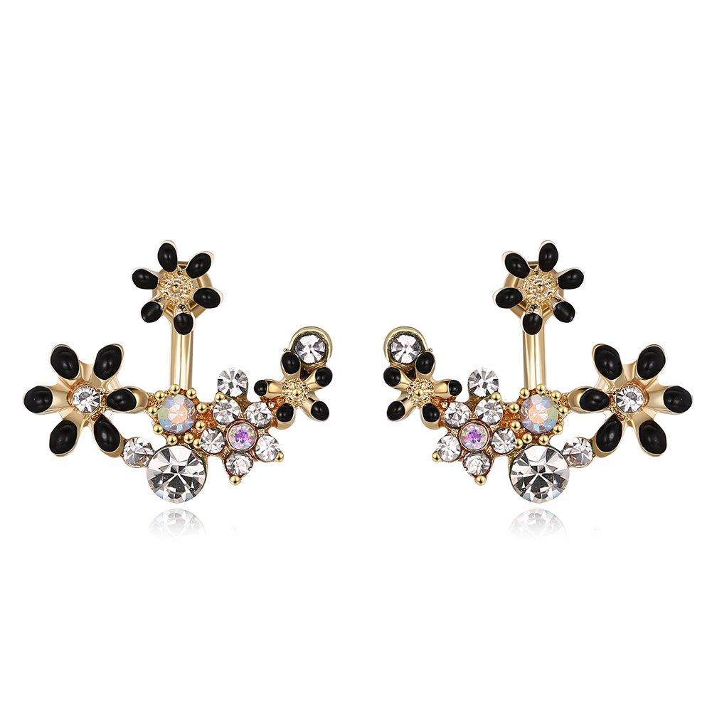 Elegant Daisy Flower Front Back Stud Earring Fashion Women Christmas Mother Gift