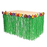 Adorox 9ft Green Table Skirt Hawaiian Luau Hibiscus With 12pcs Tropical Green Leaves Party Decorations