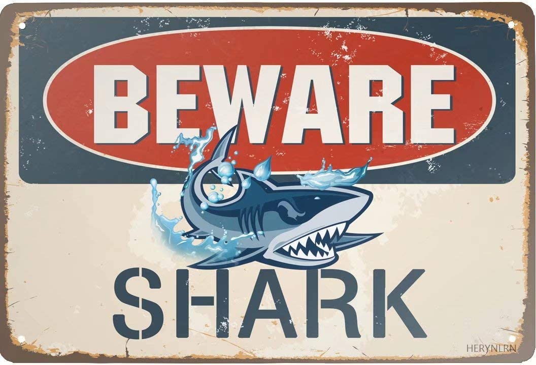 HERYNLRN Retro Tin Signs Vintage Style Beware of Shark Metal Sign Iron Painting for Indoor & Outdoor Home Bar Coffee Kitchen Wall Decor 12 x 8 INCH