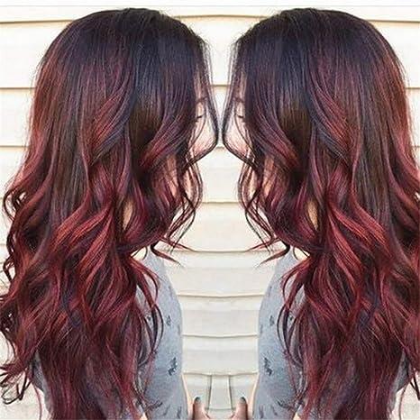 Bfaccia Perruque Gradient Noir Dégradé De Rouge 70cm Cheveux Synthétique De Grande Qualité Pour Femme Cosplay Longue Spirale Bouclés Ondulés