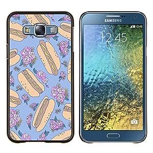 Hotdog Loco floral Random Azul Alimentos- Metal de aluminio y de plástico duro Caja del teléfono - Negro - Samsung Galaxy E7 / SM-E700