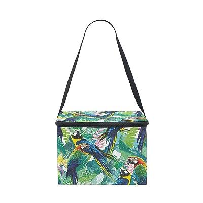 Alaza Parrot Bird Feuille de palmier isolé Sac à lunch box Cooler Sac fourre-tout réutilisable Sac extérieur Voyage Sac de pique-nique avec bandoulière pour femmes Hommes adultes enfants 8.5