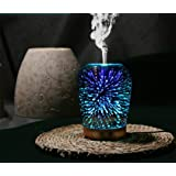 3D Essential Oil Diffuser,100ml Aromatherapy Ultrasonic Cool Mist Humidifier with 3D Design Glass Star Effect Pattern Essential Oil and Wax tarts 2in1 Combo Function Aroma Decorative Lamp for Office