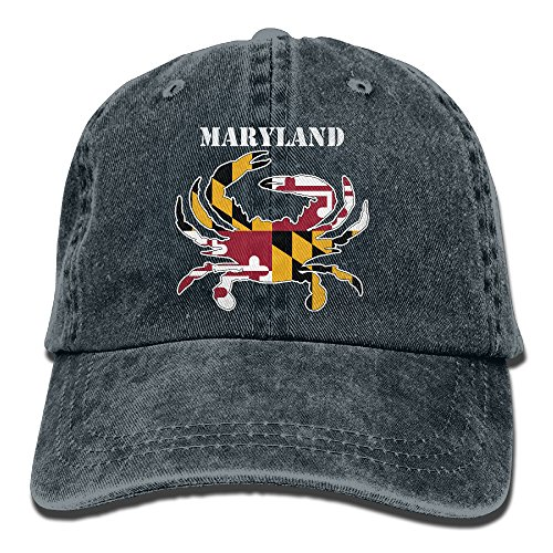 Maryland Flag Crab Washed Retro Adjustable Denim Hat Baseball Caps For Man And Woman