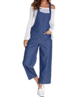 6e8ced39cdf ACHIOOWA Women s Dungarees Romper Jumpsuit Playsuit Sleeveless Baggy Loose  Trousers Pants Overalls