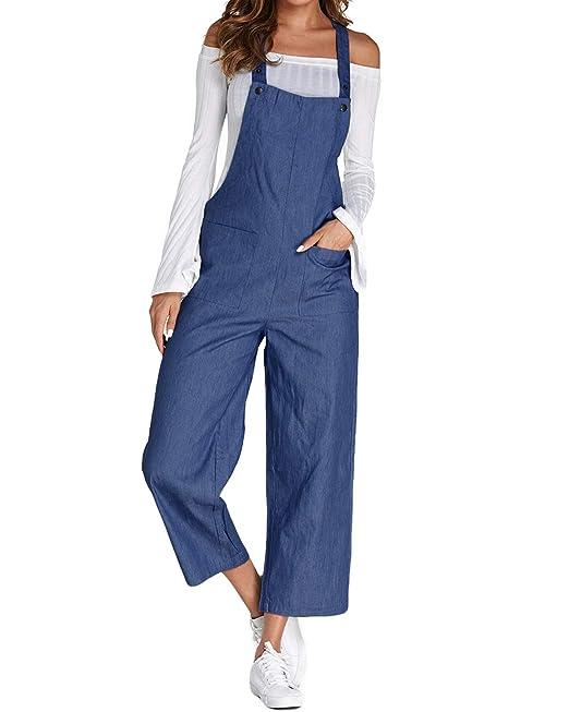 766b8e5e6ff ACHIOOWA Mujer Peto Elegante Casual Largo Suelto Mono Bolsillos Tirantes  Fiesta Noche Oficina Pantalones  Amazon.es  Ropa y accesorios