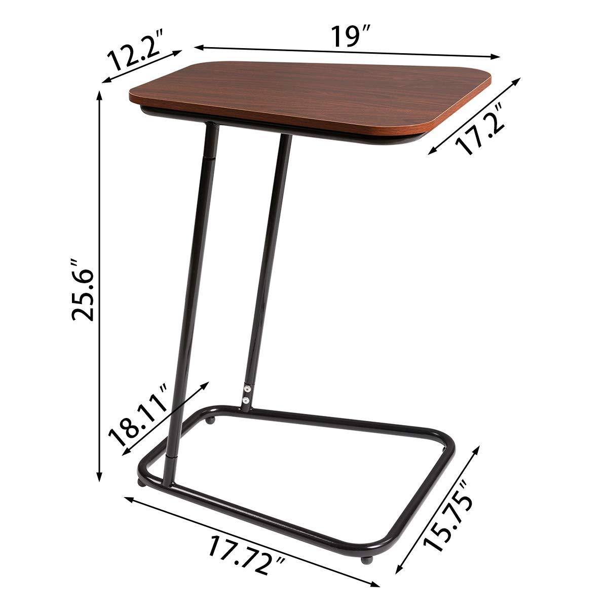 DOEWORKS Bedside Computer Desk,Cherry Side Table Slide Under Sofa Side Table Metal Slats Snacks and Laptop Tray