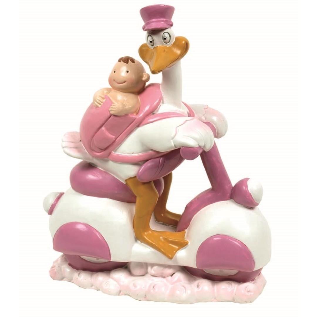 Figura Tarta Bautizo Cigüena rosa bebe moto dillards