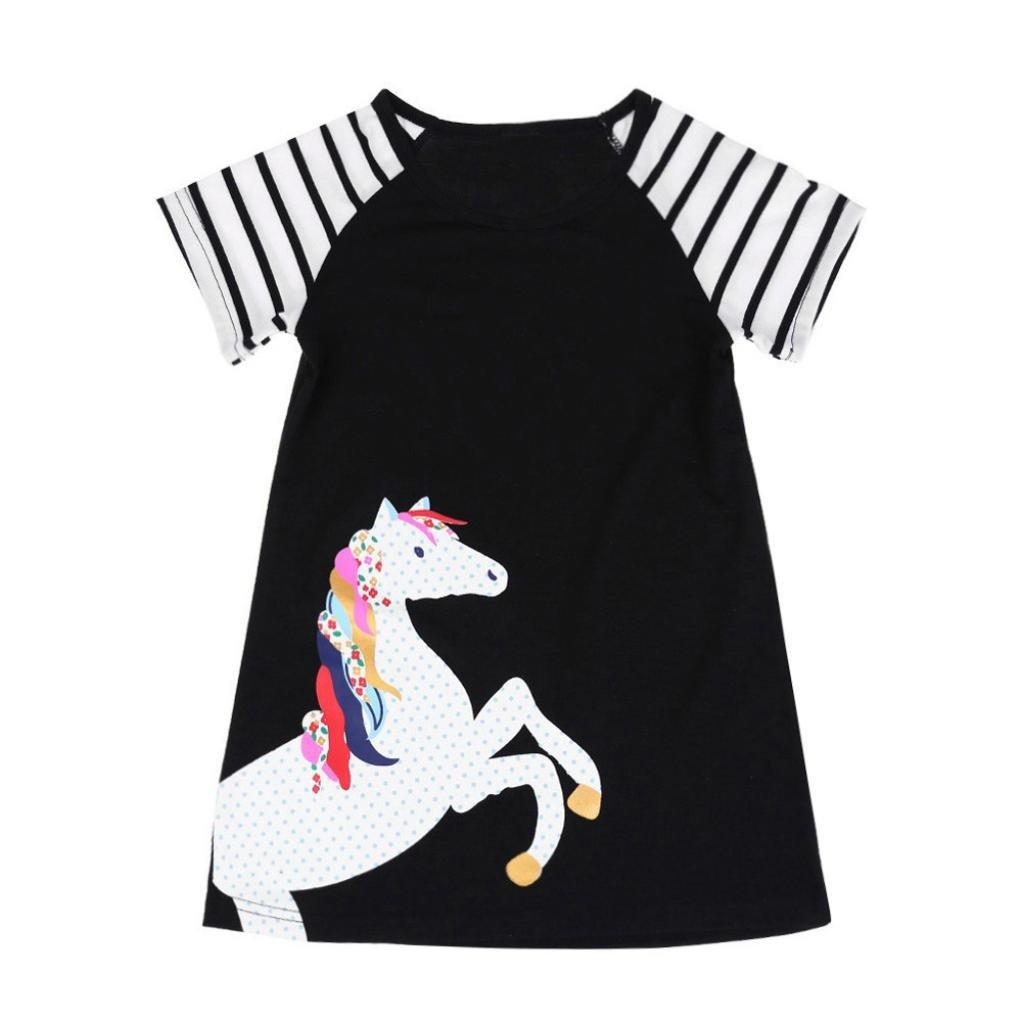vestidos de niña, ASHOP Vestido de manga corta con estampado de caballos vestidos de fiesta princesa niña Vestido de Tutú casual vestido de verano Ropa para 1-7 años, Hot sale!