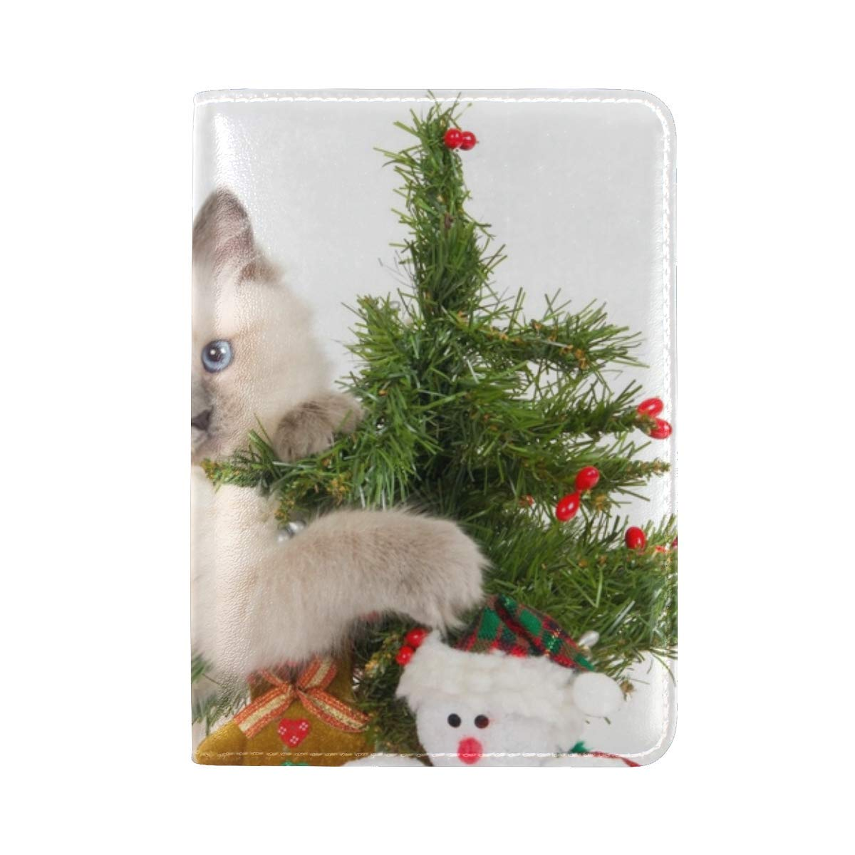 Kitten Toys Tree Playful Leather Passport Holder Cover Case Travel One Pocket