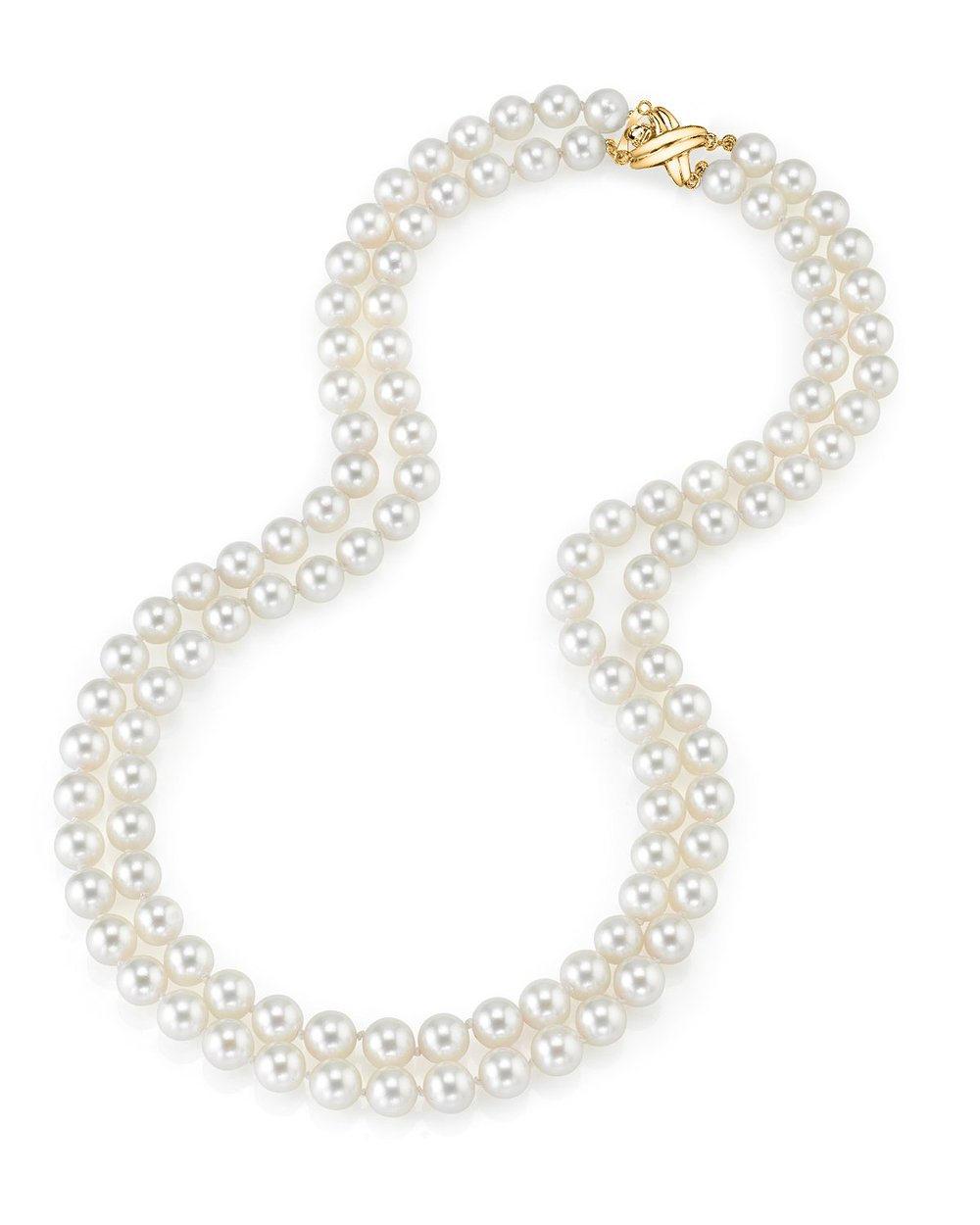 14K Gold Japanese Akoya White Cultured Pearl Double Strand Necklace - AAA Quality, 17-18'' Necklace Length