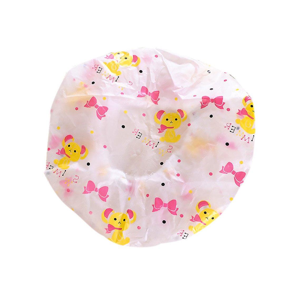 Ctgvh mignon Bonnet de douche, plastique Bain élastique étanche Maquillage capuchon pour les femmes filles (Motif ours)