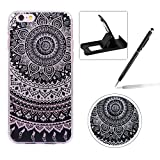 Glitter Case for iPhone 6S Plus,Crystal TPU Cover for iPhone 6 Plus,Herzzer Ultra Slim Creative [Mandala Flower Pattern] Bling Sparkly IMD Design Shock-Absorbing Soft Silicone Gel Bumper Cover Flexible TPU Transparent Skin Protective Case