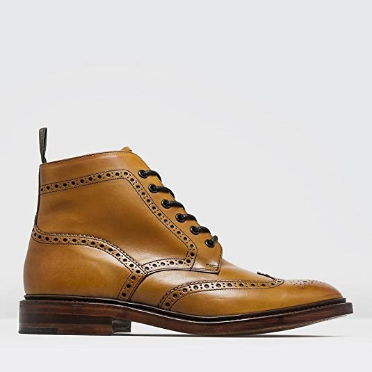 Loake Burford Mens' Tan Leather Brogue Ankle Boots: Amazon.co.uk: Shoes &  Bags