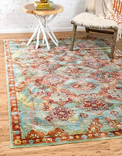 Unique Loom Austin Collection Floral Traditional Vintage Green Area Rug 9' 0 x 12' 0