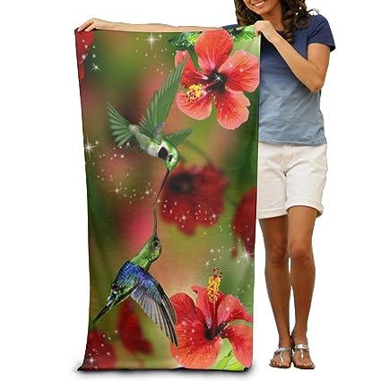 Flower Hummingbirds Love Quick-drying Pool Beach Towel Travel Bath Towel For Adults