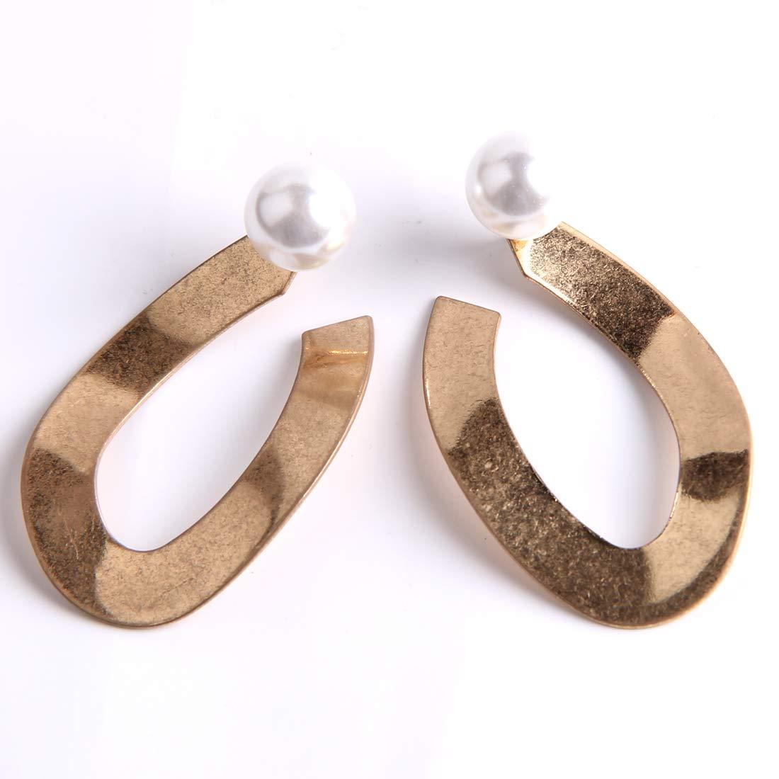Yeslady Irregular Shape With Pearl Two Ways Drop Earrings