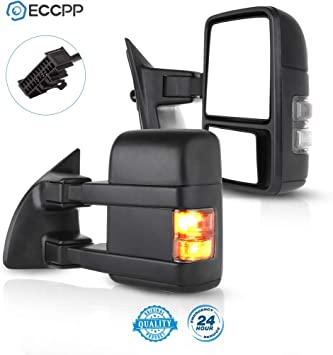 Perfit Zone Towing Mirrors Replacement Fit for 1999-2007 F-250 F-350 F-450 F-550 SUPER DUTY,POWER HEATED,W//AMBER SIGNAL,BLACK PAIR SET
