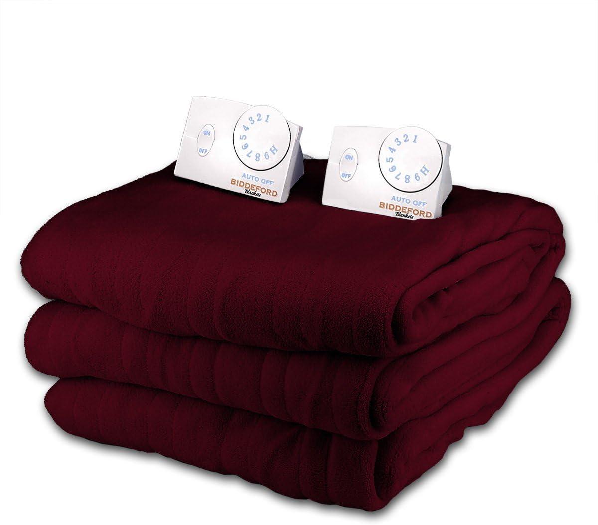 Biddeford Douce Microplush Queen Size Couverture chauffante électrique (Crimson foncé)
