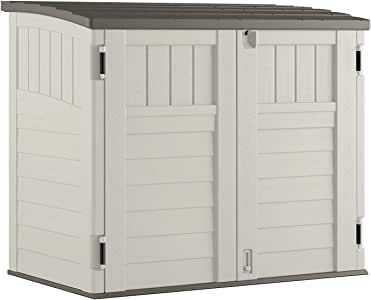 Toomax Storer Plus Resin Weather Resistant Outdoor Horizontal Storage Shed Cabinet for Trash Cans and Yard Tools, 44 cu ft