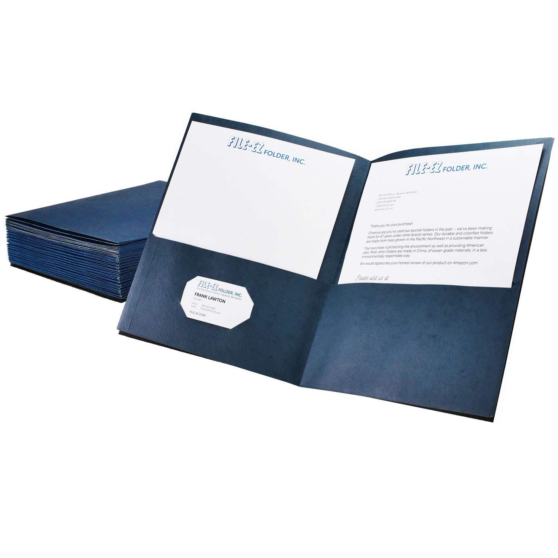File-EZ Two-Pocket Folders, Dark Blue, 25-Pack, Textured Paper, Letter Size (EZ-32523)