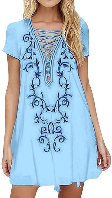 VEMOW Vestido Bohemio con Estampado Boho de Manga Corta de Verano de Moda para Faldas Mujer: Amazon.es: Ropa y accesorios