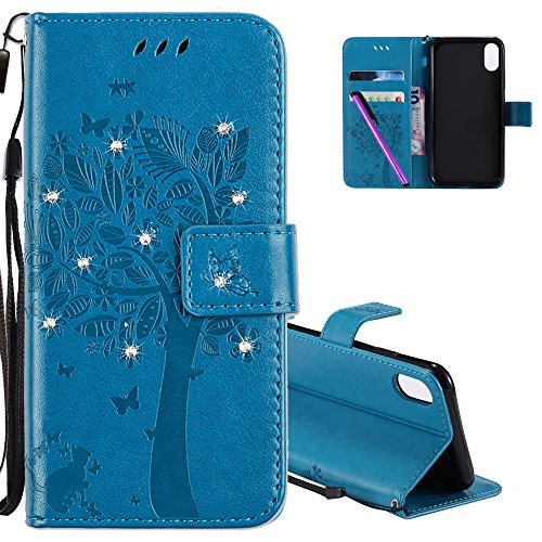 HMTECH iPhone X case iPhone 10 case 5.8 Inch 3D Crystal Embossed Love Tree Cat Butterfly Handmade Bling PU Flip Stand Card Holders Wallet Cover for iPhone X Wishing Tree Diamonds Blue KT