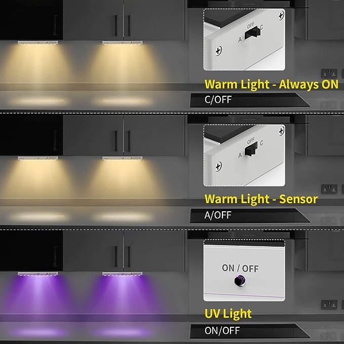 2in1 Luz Armario,ChefLoud Lámpara de Armario Sensor Movimiento, esterilización y desinfección UVC Luz Nocturna Recargable con 3 Modos 150lm para el hogar Gabinete Pasillo,hotel, mascotas,etc. 2 piezas: Amazon.es: Iluminación