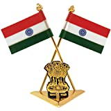ManeKo Indian National Flag with Satyamev Jayate Symbol Gold Plated & Brass for Car Dashboard & Official Purpose