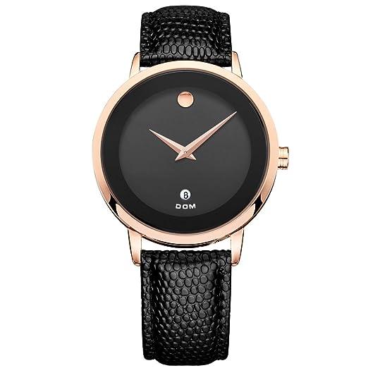 Dom reloj de piel estilo de cuarzo para hombre relojes primera marca de lujo resistente al agua hombre reloj mujer marcas famosas ms-375g-1 m: Amazon.es: ...